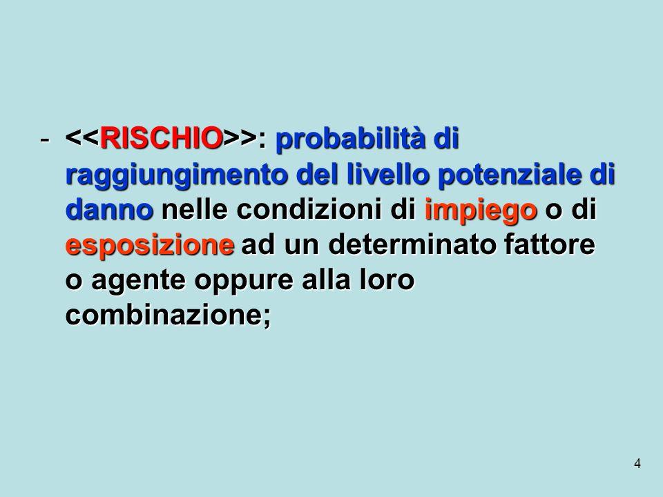 4 - >: probabilità di raggiungimento del livello potenziale di danno nelle condizioni di impiego o di esposizione ad un determinato fattore o agente o