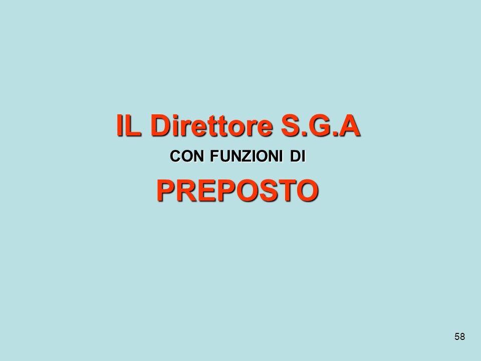 58 IL Direttore S.G.A CON FUNZIONI DI PREPOSTO