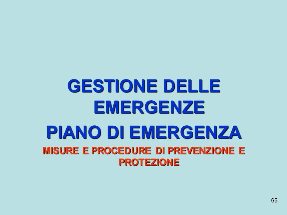 65 GESTIONE DELLE EMERGENZE PIANO DI EMERGENZA MISURE E PROCEDURE DI PREVENZIONE E PROTEZIONE