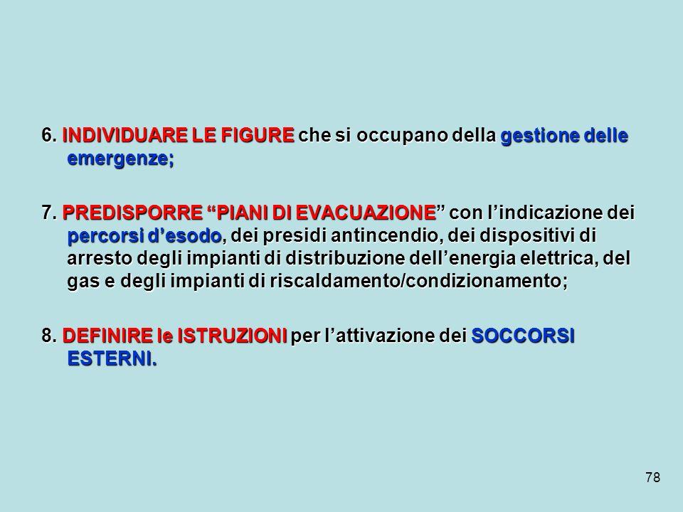 78 6. INDIVIDUARE LE FIGURE che si occupano della gestione delle emergenze; 7. PREDISPORRE PIANI DI EVACUAZIONE con lindicazione dei percorsi desodo,