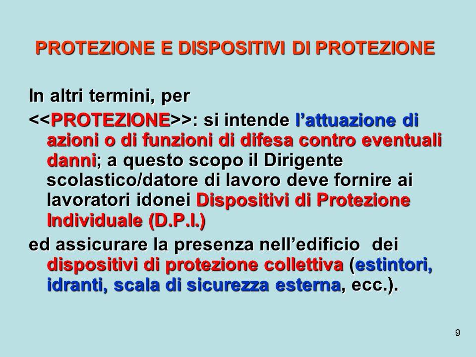 9 PROTEZIONE E DISPOSITIVI DI PROTEZIONE In altri termini, per >: si intende lattuazione di azioni o di funzioni di difesa contro eventuali danni; a q