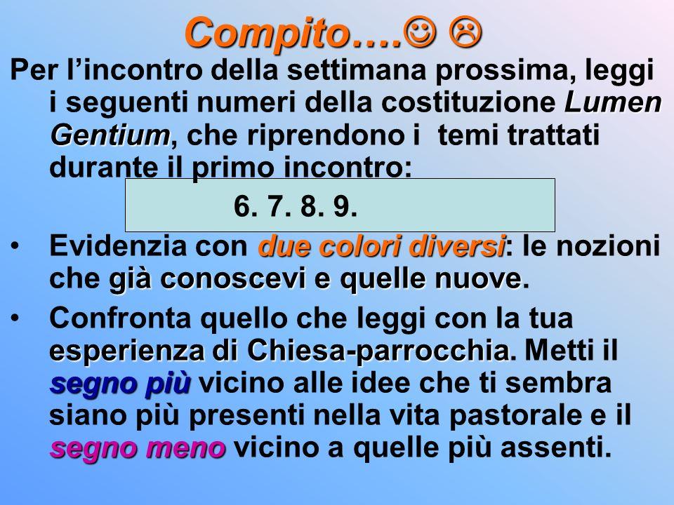 Compito…. Compito…. Lumen Gentium Per lincontro della settimana prossima, leggi i seguenti numeri della costituzione Lumen Gentium, che riprendono i t