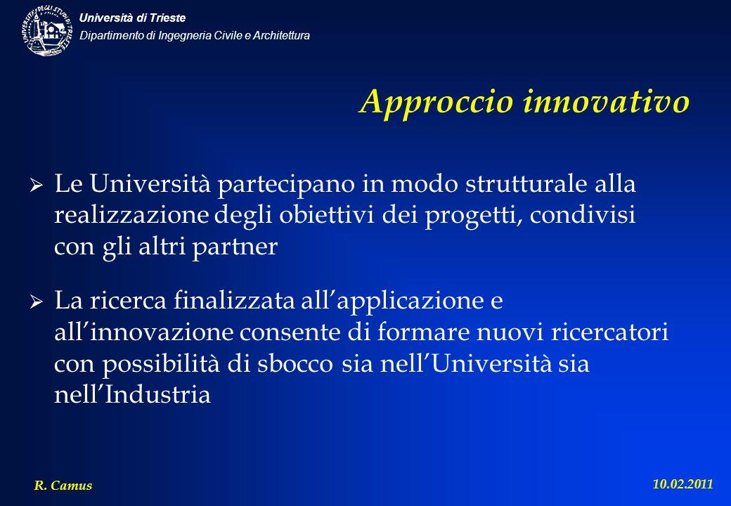 Dipartimento di Ingegneria Civile e Architettura Università di Trieste R. Camus 10.02.2011 Approccio innovativo Le Università partecipano in modo stru