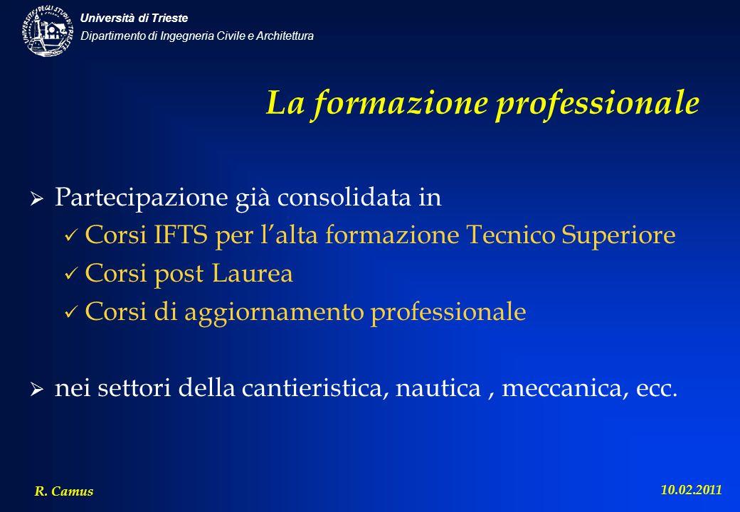 Dipartimento di Ingegneria Civile e Architettura Università di Trieste R. Camus 10.02.2011 La formazione professionale Partecipazione già consolidata