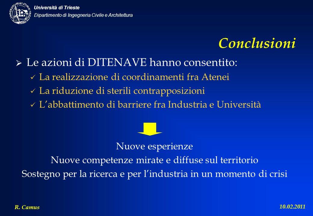 Dipartimento di Ingegneria Civile e Architettura Università di Trieste R. Camus 10.02.2011 Conclusioni Le azioni di DITENAVE hanno consentito: La real