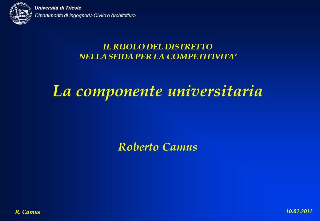 Dipartimento di Ingegneria Civile e Architettura Università di Trieste R. Camus 10.02.2011 IL RUOLO DEL DISTRETTO NELLA SFIDA PER LA COMPETITIVITA La