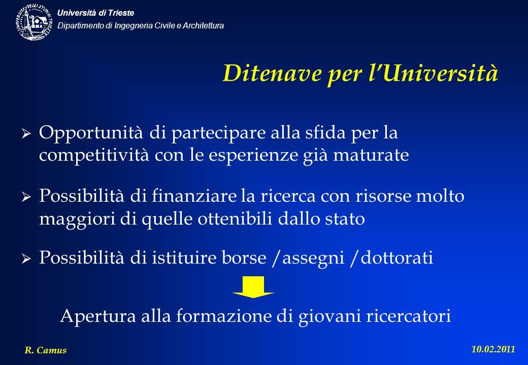 Dipartimento di Ingegneria Civile e Architettura Università di Trieste R. Camus 10.02.2011 Ditenave per lUniversità Opportunità di partecipare alla sf