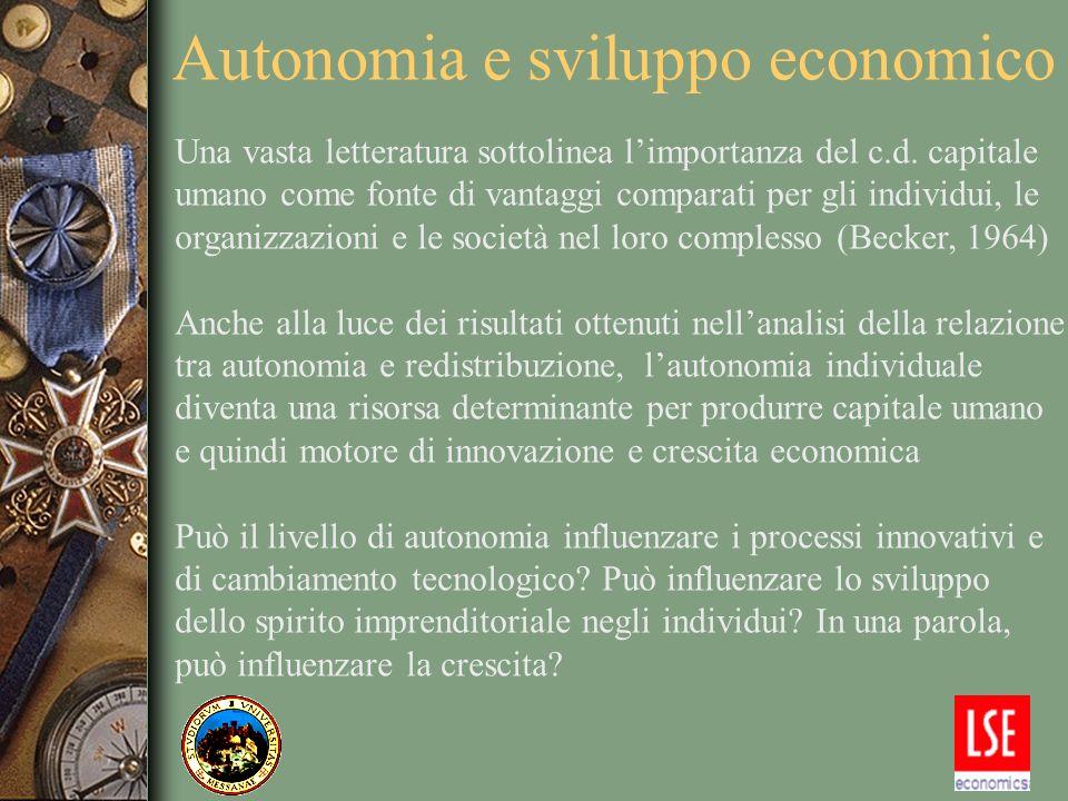 Autonomia e sviluppo economico Una vasta letteratura sottolinea limportanza del c.d. capitale umano come fonte di vantaggi comparati per gli individui