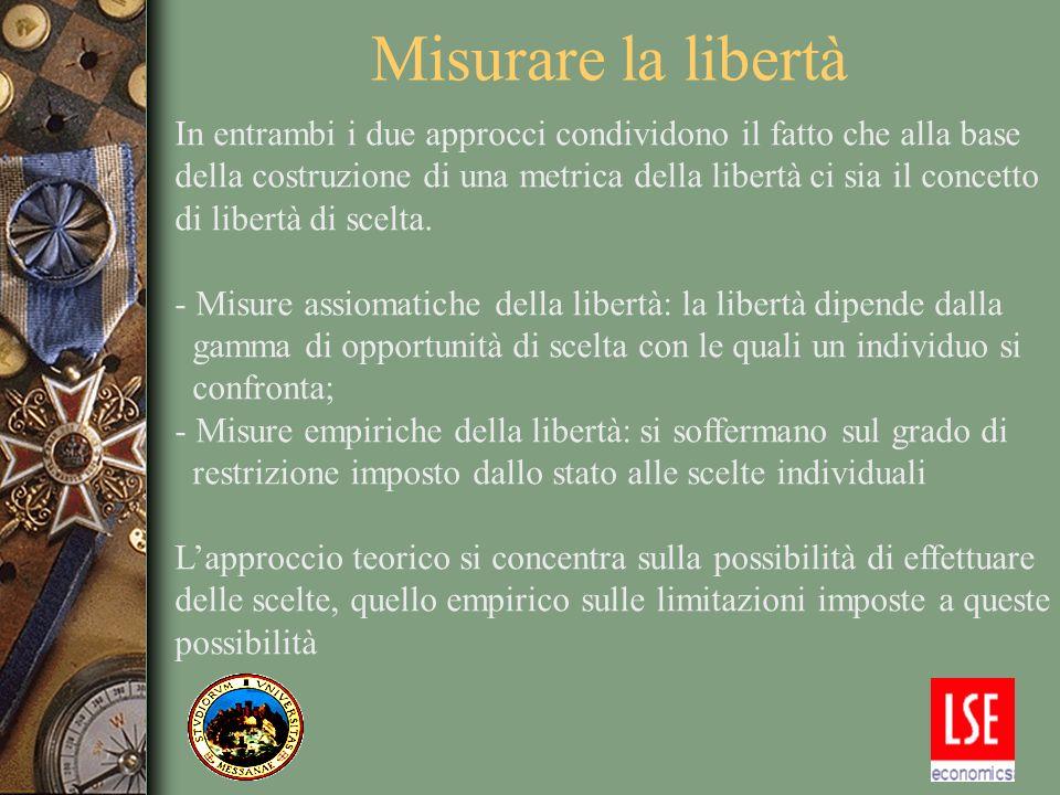 Misurare la libertà In entrambi i due approcci condividono il fatto che alla base della costruzione di una metrica della libertà ci sia il concetto di libertà di scelta.