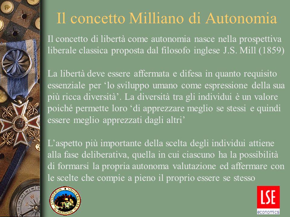 La misura teorica di autonomia La misura teorica di libertà come autonomia è costruita su una serie di assiomi che tengono in considerazione: 1.
