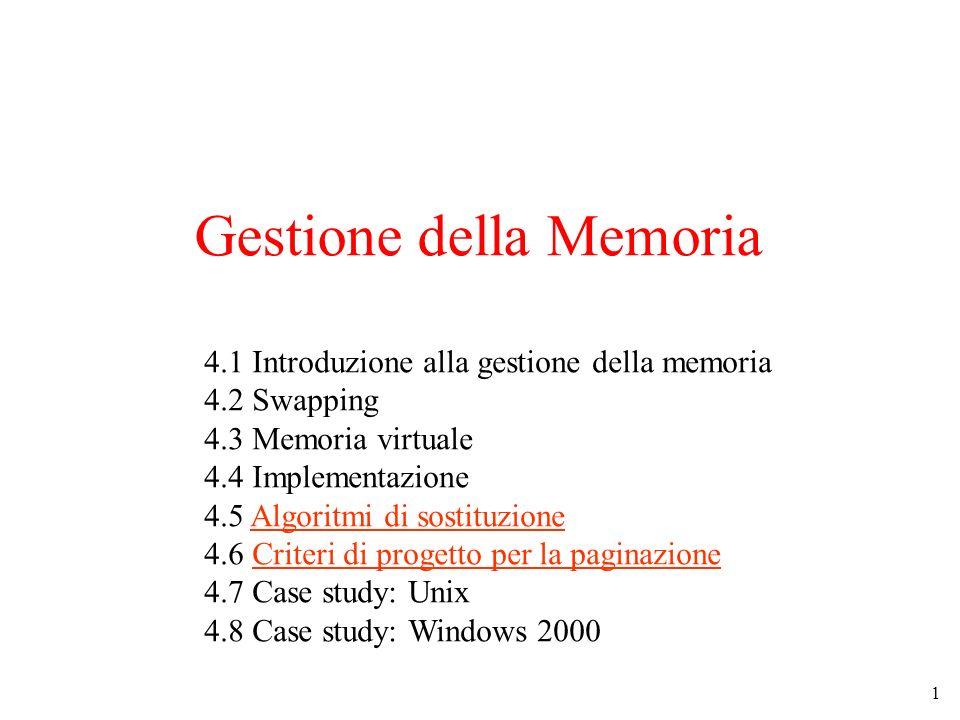 1 Gestione della Memoria 4.1 Introduzione alla gestione della memoria 4.2 Swapping 4.3 Memoria virtuale 4.4 Implementazione 4.5 Algoritmi di sostituzi