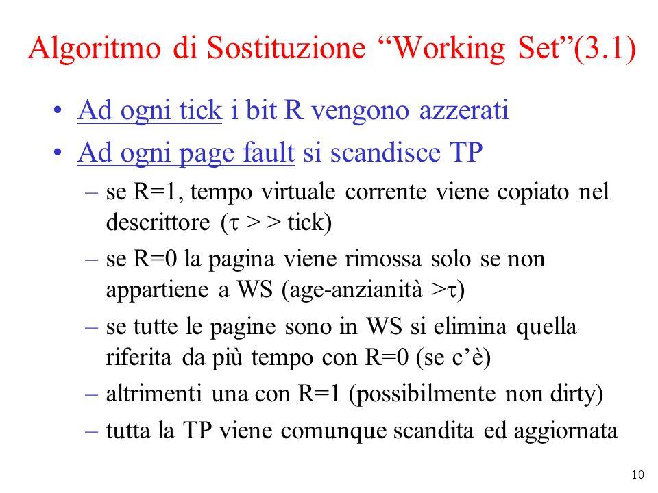 10 Algoritmo di Sostituzione Working Set(3.1) Ad ogni tick i bit R vengono azzerati Ad ogni page fault si scandisce TP –se R=1, tempo virtuale corrent