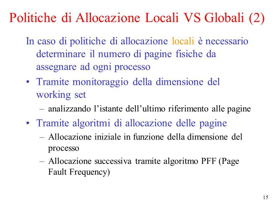 15 Politiche di Allocazione Locali VS Globali (2) In caso di politiche di allocazione locali è necessario determinare il numero di pagine fisiche da a