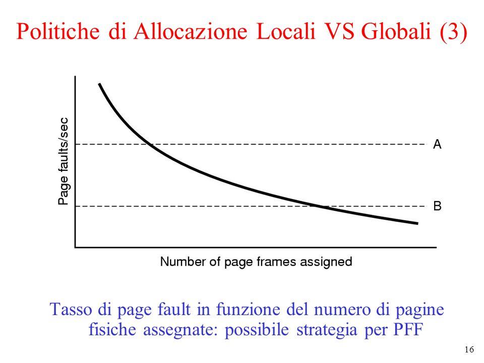 16 Politiche di Allocazione Locali VS Globali (3) Tasso di page fault in funzione del numero di pagine fisiche assegnate: possibile strategia per PFF