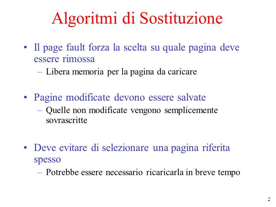 2 Algoritmi di Sostituzione Il page fault forza la scelta su quale pagina deve essere rimossa –Libera memoria per la pagina da caricare Pagine modific