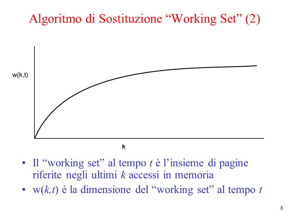 8 Algoritmo di Sostituzione Working Set (2) Il working set al tempo t è linsieme di pagine riferite negli ultimi k accessi in memoria w(k,t) è la dime