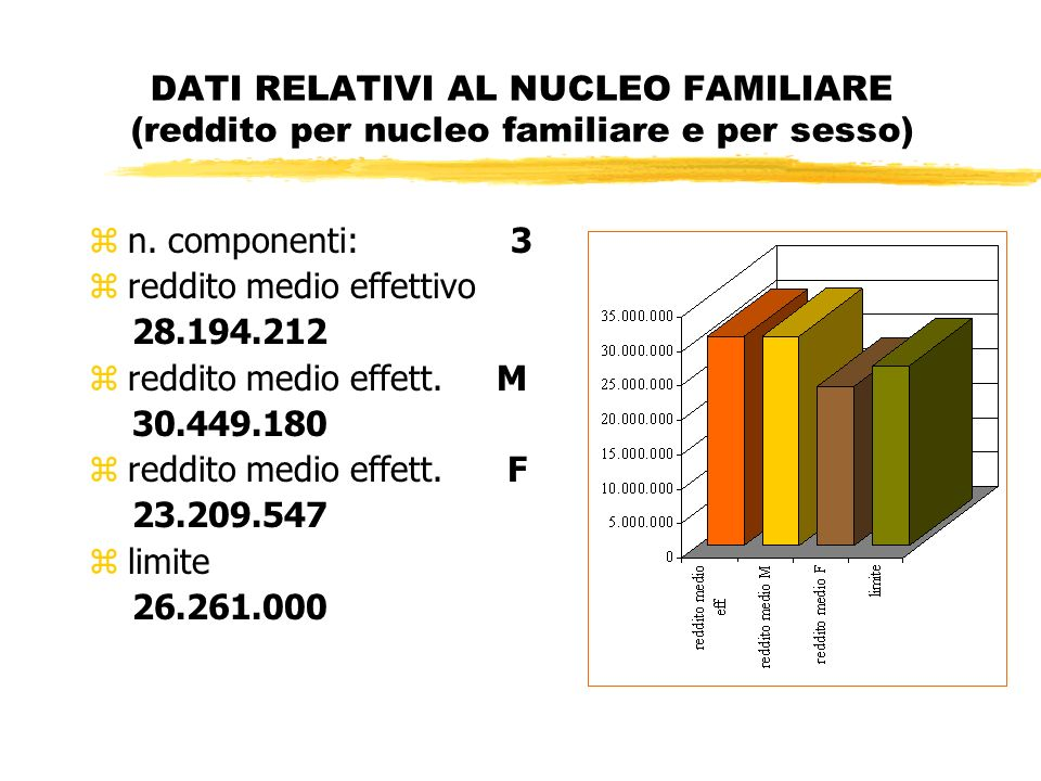 DATI RELATIVI AL NUCLEO FAMILIARE (reddito per nucleo familiare e per sesso) zn.