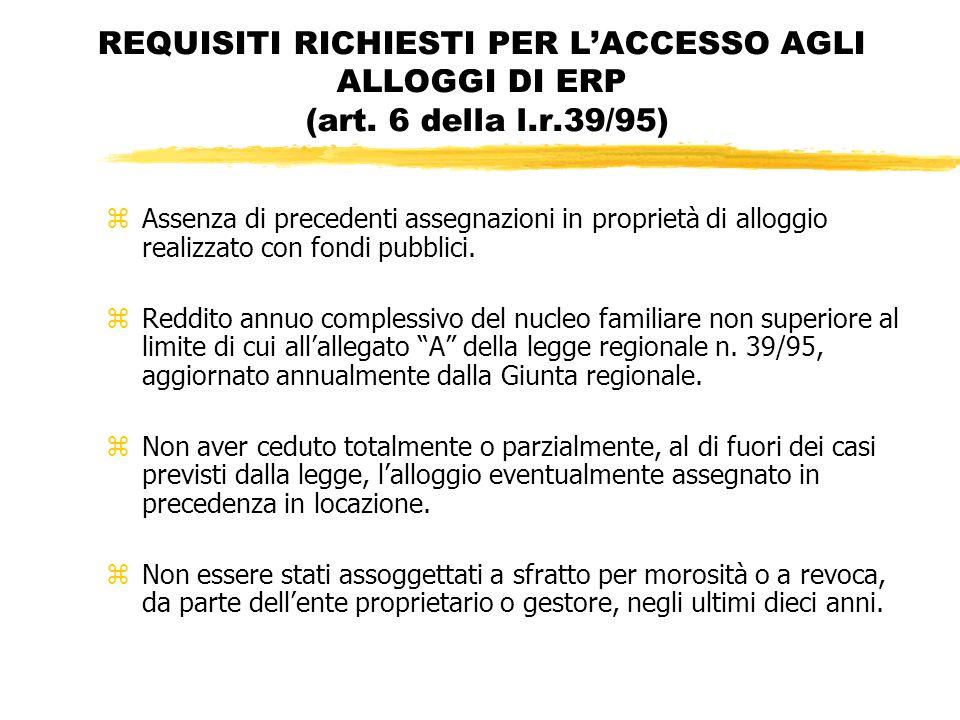 REQUISITI RICHIESTI PER LACCESSO AGLI ALLOGGI DI ERP (art.