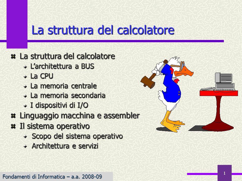 Fondamenti di Informatica I a.a. 2007-08 1 La struttura del calcolatore Larchitettura a BUS La CPU La memoria centrale La memoria secondaria I disposi