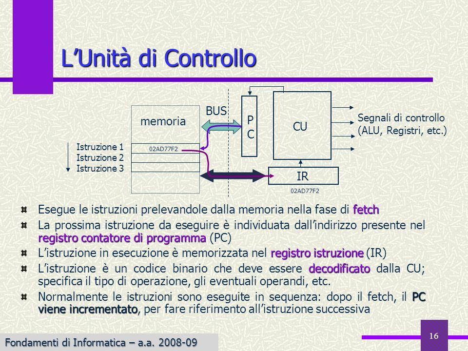 Fondamenti di Informatica I a.a. 2007-08 16 LUnità di Controllo fetch Esegue le istruzioni prelevandole dalla memoria nella fase di fetch registro con