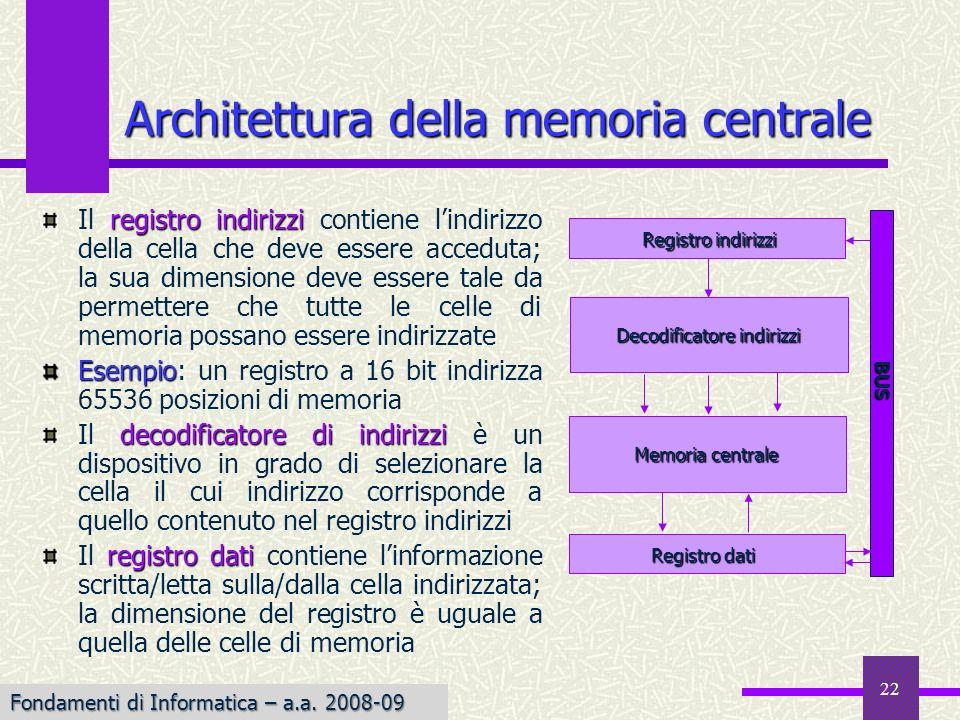 Fondamenti di Informatica I a.a. 2007-08 22 registro indirizzi Il registro indirizzi contiene lindirizzo della cella che deve essere acceduta; la sua