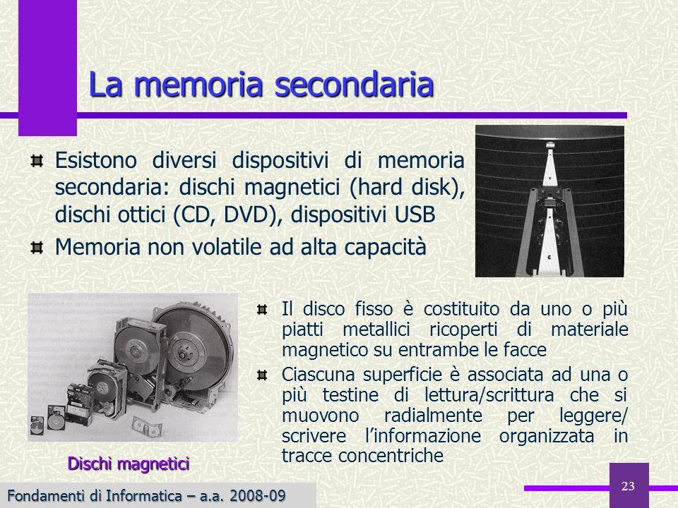 Fondamenti di Informatica I a.a. 2007-08 23 La memoria secondaria Il disco fisso è costituito da uno o più piatti metallici ricoperti di materiale mag