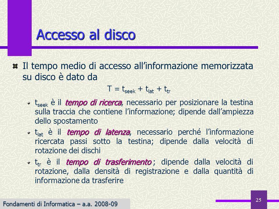 Fondamenti di Informatica I a.a. 2007-08 25 Accesso al disco Il tempo medio di accesso allinformazione memorizzata su disco è dato da tempo di ricerca