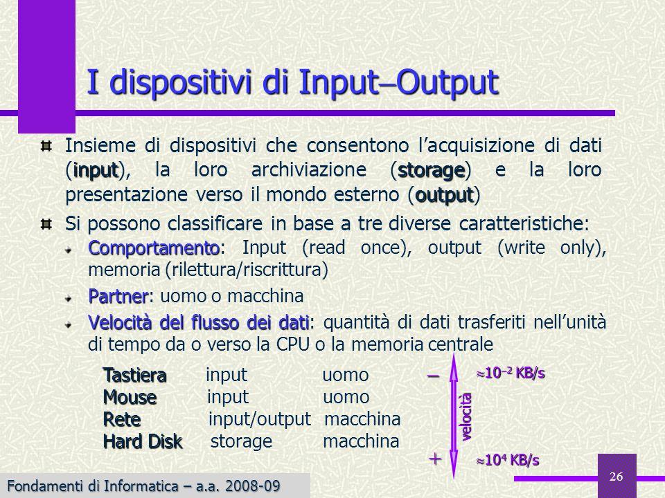 Fondamenti di Informatica I a.a. 2007-08 26 I dispositivi di Input Output Comportamento Comportamento: Input (read once), output (write only), memoria