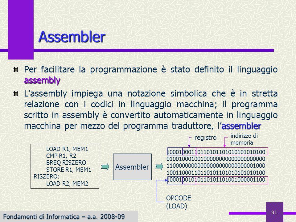 Fondamenti di Informatica I a.a. 2007-08 31 Assembler assembly Per facilitare la programmazione è stato definito il linguaggio assembly assembler Lass