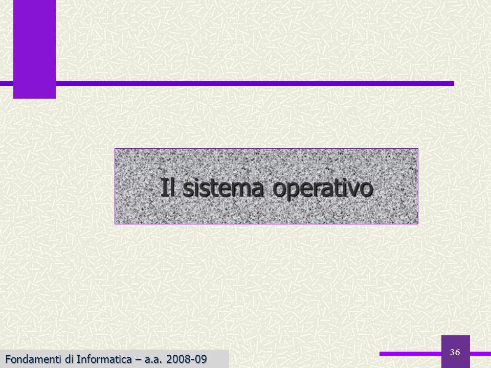 Fondamenti di Informatica I a.a. 2007-08 36 Il sistema operativo Fondamenti di Informatica – a.a. 2008-09