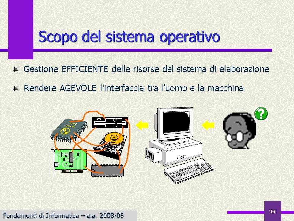 Fondamenti di Informatica I a.a. 2007-08 39 Scopo del sistema operativo Gestione EFFICIENTE delle risorse del sistema di elaborazione Rendere AGEVOLE