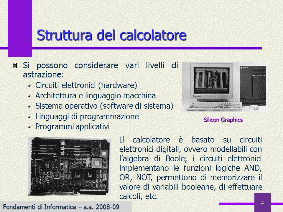 Fondamenti di Informatica I a.a. 2007-08 4 Struttura del calcolatore Si possono considerare vari livelli di astrazione: Circuiti elettronici (hardware
