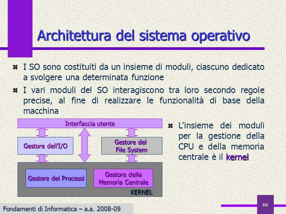 Fondamenti di Informatica I a.a. 2007-08 46 I SO sono costituiti da un insieme di moduli, ciascuno dedicato a svolgere una determinata funzione I vari