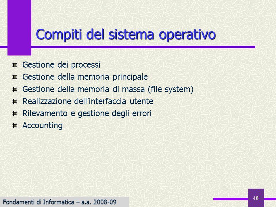 Fondamenti di Informatica I a.a. 2007-08 48 Gestione dei processi Gestione della memoria principale Gestione della memoria di massa (file system) Real