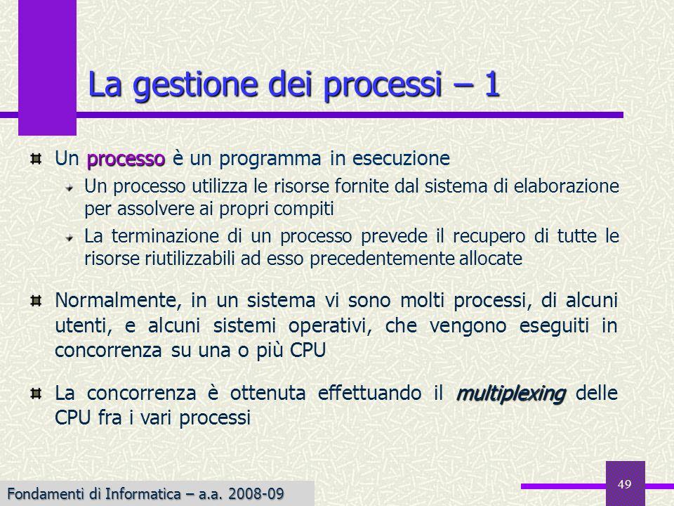 Fondamenti di Informatica I a.a. 2007-08 processo Un processo è un programma in esecuzione Un processo utilizza le risorse fornite dal sistema di elab