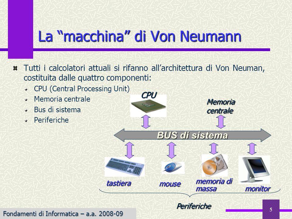 Fondamenti di Informatica I a.a. 2007-08 5 Tutti i calcolatori attuali si rifanno allarchitettura di Von Neuman, costituita dalle quattro componenti: