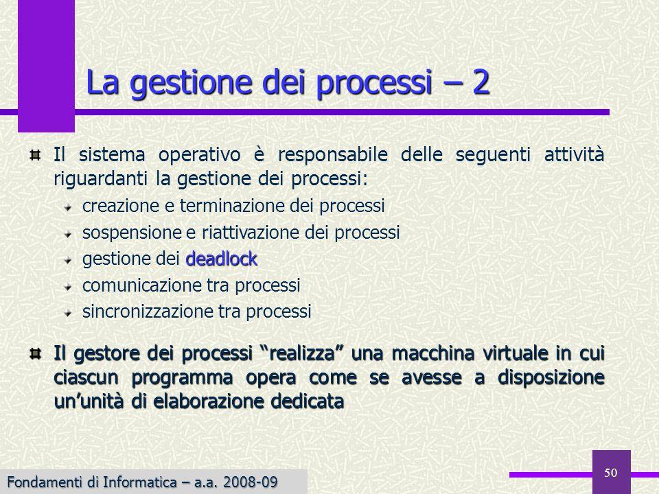 Fondamenti di Informatica I a.a. 2007-08 La gestione dei processi – 2 Il sistema operativo è responsabile delle seguenti attività riguardanti la gesti