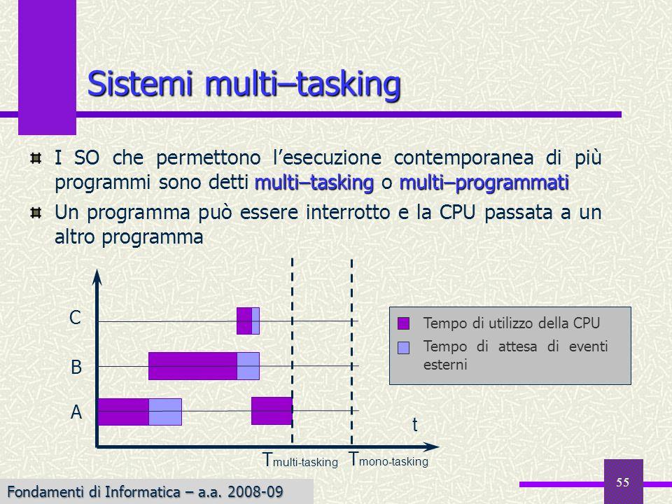 Fondamenti di Informatica I a.a. 2007-08 Sistemi multi–tasking multi–tasking multi–programmati I SO che permettono lesecuzione contemporanea di più pr