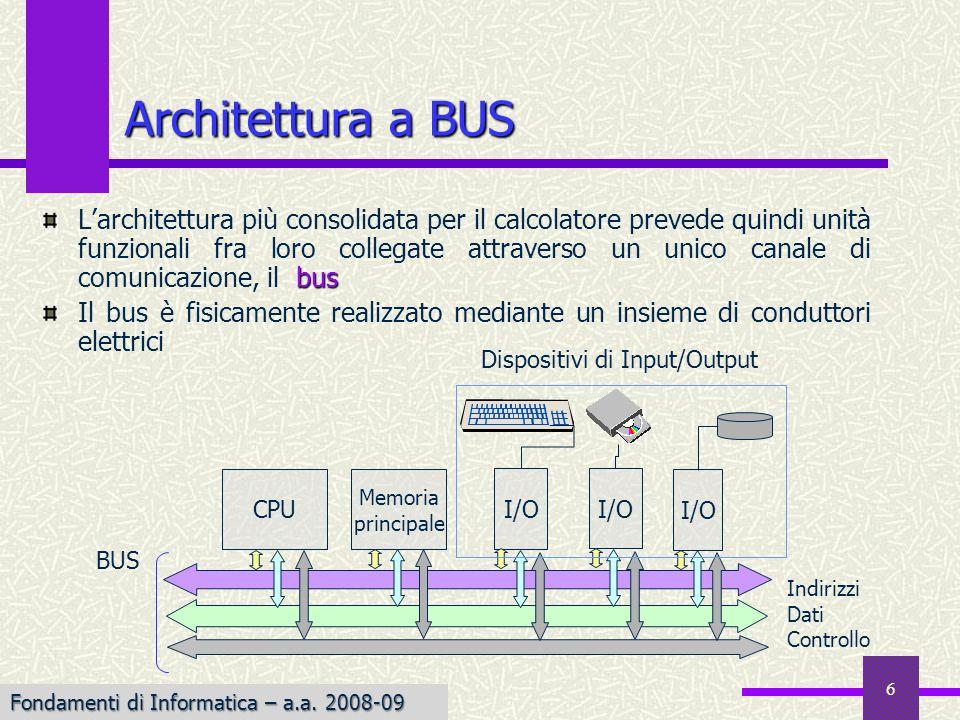 Fondamenti di Informatica I a.a. 2007-08 6 Architettura a BUS bus Larchitettura più consolidata per il calcolatore prevede quindi unità funzionali fra