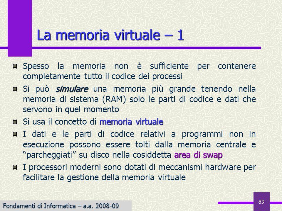Fondamenti di Informatica I a.a. 2007-08 Spesso la memoria non è sufficiente per contenere completamente tutto il codice dei processi simulare Si può