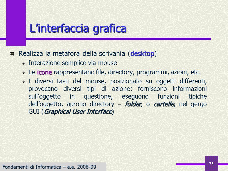 Fondamenti di Informatica I a.a. 2007-08 Linterfaccia grafica desktop Realizza la metafora della scrivania (desktop) Interazione semplice via mouse ic