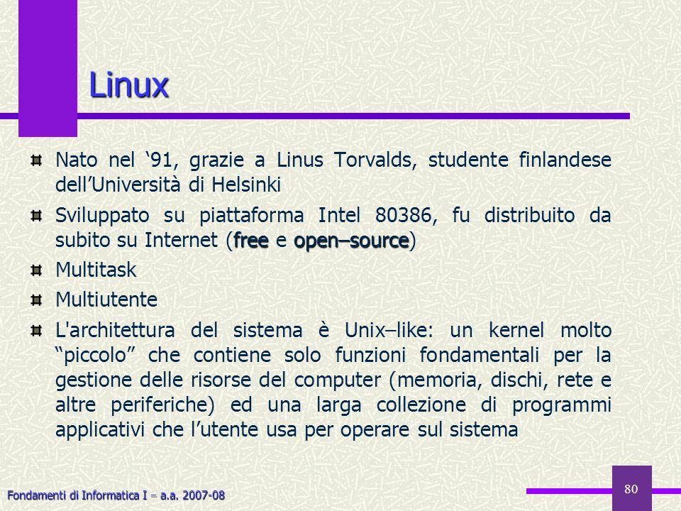 Fondamenti di Informatica I a.a. 2007-08 Linux Nato nel 91, grazie a Linus Torvalds, studente finlandese dellUniversità di Helsinki freeopen–source Sv