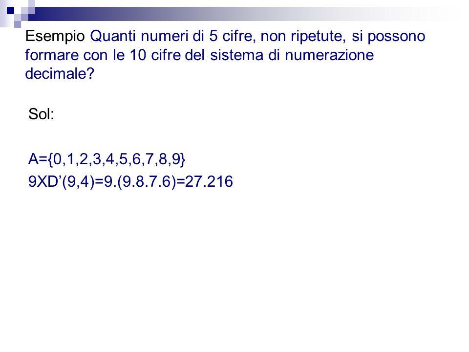 Esempio Quanti numeri di 5 cifre, non ripetute, si possono formare con le 10 cifre del sistema di numerazione decimale? Sol: A={0,1,2,3,4,5,6,7,8,9} 9