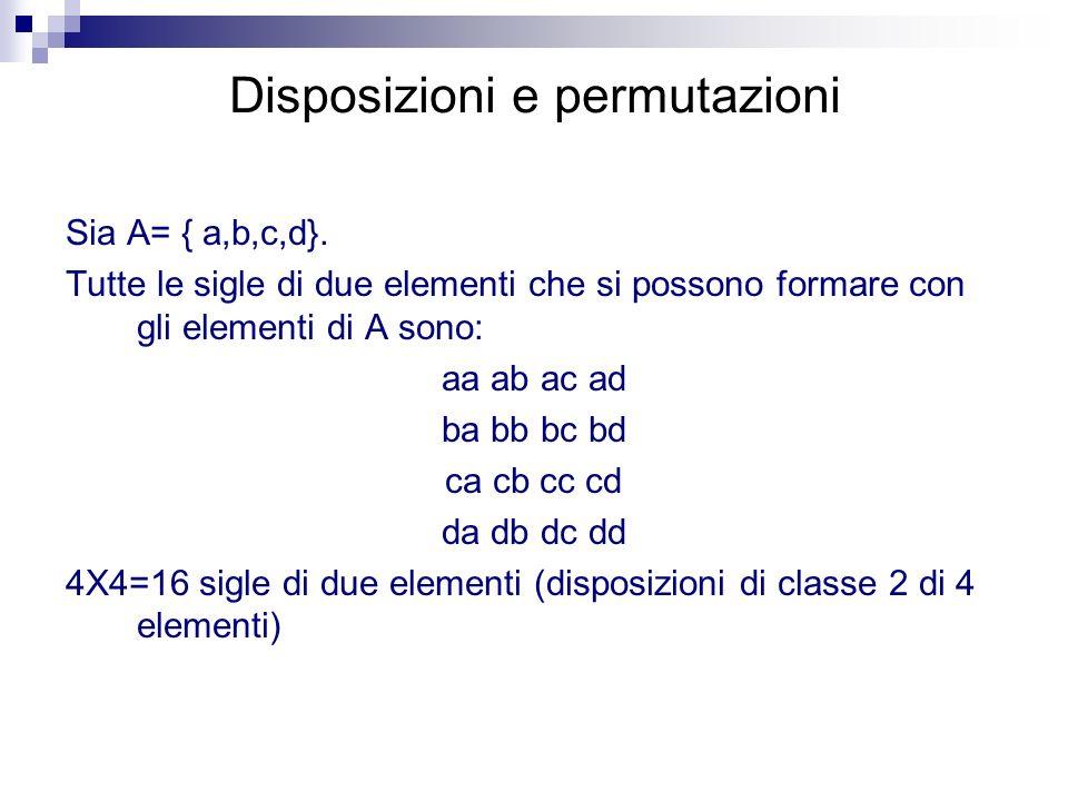 Disposizioni e permutazioni Sia A= { a,b,c,d}. Tutte le sigle di due elementi che si possono formare con gli elementi di A sono: aa ab ac ad ba bb bc