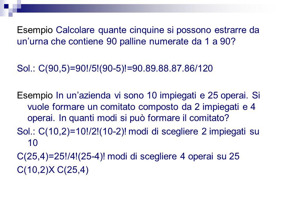 Esempio Calcolare quante cinquine si possono estrarre da unurna che contiene 90 palline numerate da 1 a 90? Sol.: C(90,5)=90!/5!(90-5)!=90.89.88.87.86
