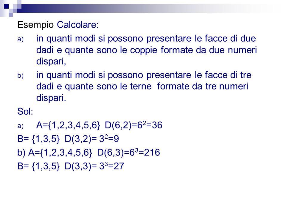 Esempio Calcolare: a) in quanti modi si possono presentare le facce di due dadi e quante sono le coppie formate da due numeri dispari, b) in quanti mo