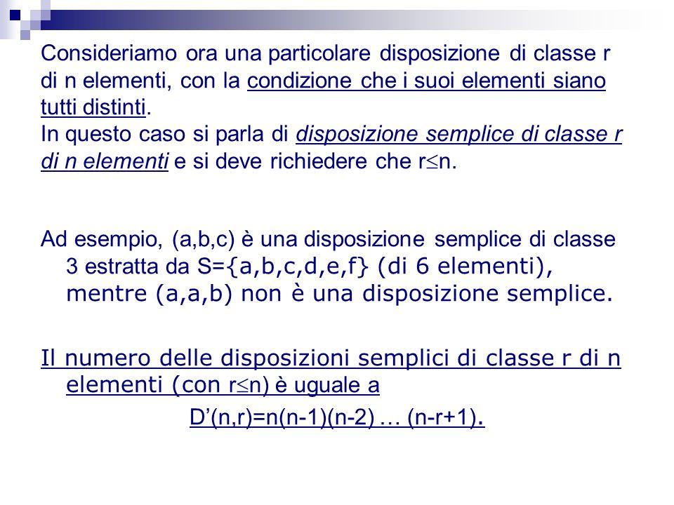 Consideriamo ora una particolare disposizione di classe r di n elementi, con la condizione che i suoi elementi siano tutti distinti. In questo caso si