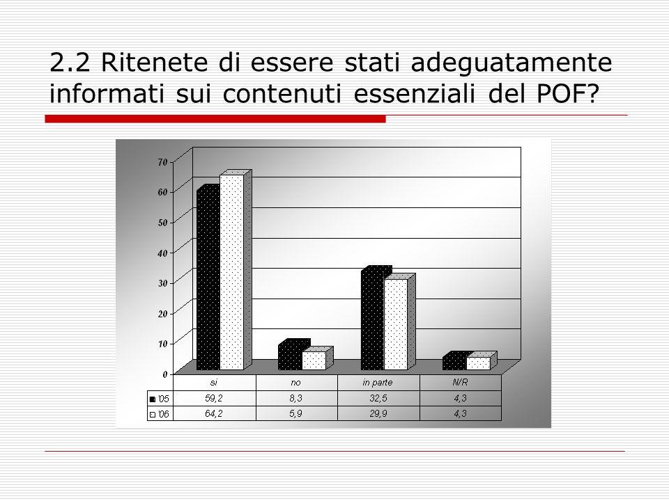 2.2 Ritenete di essere stati adeguatamente informati sui contenuti essenziali del POF?
