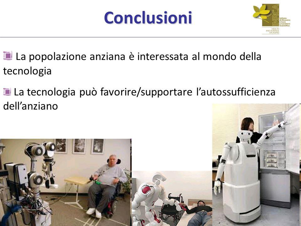 Conclusioni La popolazione anziana è interessata al mondo della tecnologia La tecnologia può favorire/supportare lautossufficienza dellanziano