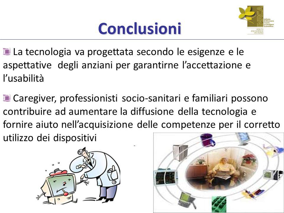 Conclusioni La tecnologia va progettata secondo le esigenze e le aspettative degli anziani per garantirne laccettazione e lusabilità Caregiver, profes